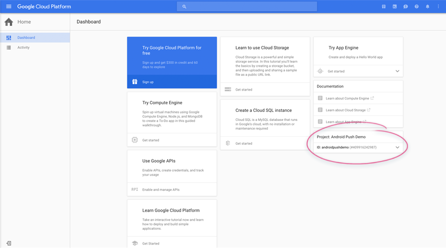 Google Cloud Dashboard